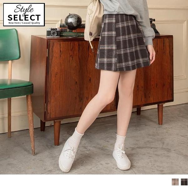 《KG0933-》復古格紋配色毛呢打褶短裙 OB嚴選