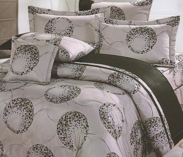 單品-床包 (不含被套)-幾何(灰)、100%精梳棉【雙人床包5X6.2尺/枕套】