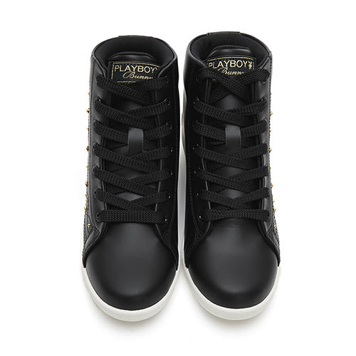 PLAYBOY 晶鑽高筒內增高休閒鞋-黑