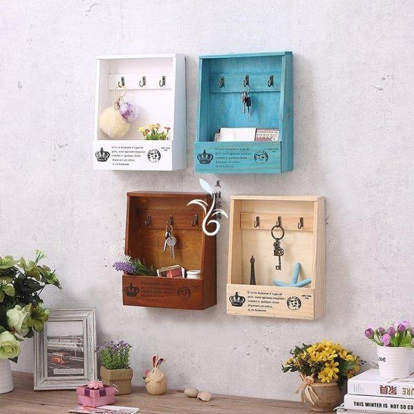 木質玄關創意壁掛鑰匙盒家門口鑰匙收納盒家居飾品牆面裝飾架掛鉤  茱莉亞嚴選