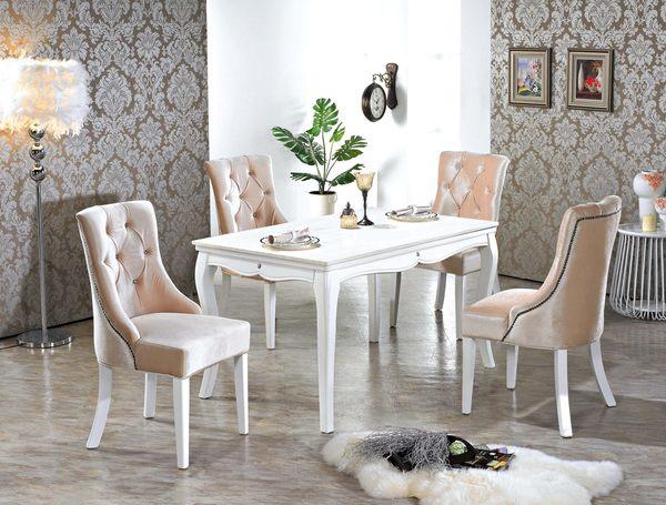 【森可家居】丘比特水鑽餐椅 7JX245-2 法式古典 絨布