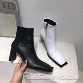 靴子粗跟方頭靴子女短靴薄款2020新款百搭中跟彈力網紅同款瘦瘦靴413817 阿卡娜