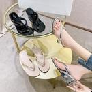 厚底拖鞋 夾趾拖鞋女外穿2021夏新款個性時尚百搭中跟人字拖坡跟漆皮涼拖鞋