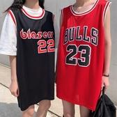 球衣 純棉無袖t恤春夏籃球服女外穿背心韓版bf寬鬆中長款運動球衣ins潮 麗人印象 免運