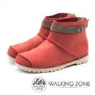 【南紡購物中心】WALKING ZONE 皮革車縫拉鍊短靴 女鞋 - 紅 (另有藍、黃棕)