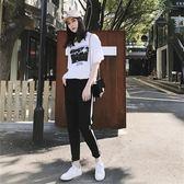 休閒運動套裝女兩件套短袖2018夏季女裝新款學生時尚寬鬆跑步衣服   初見居家