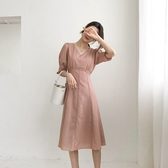 中袖洋裝-V領繫帶收腰休閒連身裙73xk6【時尚巴黎】