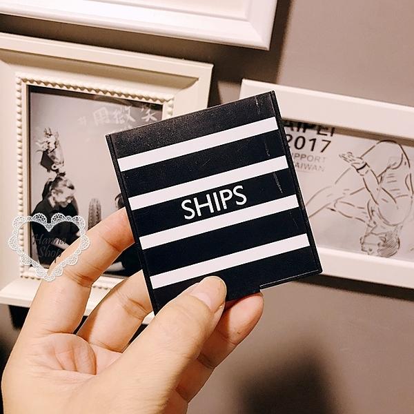 《花花創意会社》外流。SHIPS海軍風黑藍條紋隨身鏡【H6177】