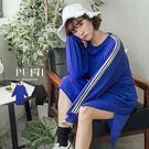 (現貨)PUFII-洋裝 休閒側撞色線條寬鬆長版T恤洋裝上衣 2色-0906 現+預 秋【CP15090】
