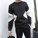 找到自己品牌 春夏新款 男士黑白灰三色 三角形拼接 圓領套頭衛衣 外套