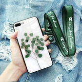 蘋果手機殼玻璃i7女款簡約小清新8x掛繩蘋果x手機殼7p防摔個性創意【快速出貨】