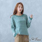 【Tiara Tiara】菱格x箭頭長袖針織衫(綠/黃)