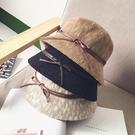 漁夫帽 正韓出游蝴蝶結遮陽帽子草帽女圓頂小禮帽防曬沙灘帽折疊盆帽夏天