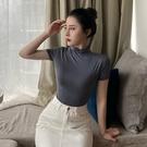 短T 莫代爾半高領t恤女短袖ins潮洋氣夏季黑色中領半袖打底衫緊身上衣