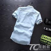 夏季牛仔襯衫男短袖韓版修身潮流薄款襯衣上衣青少年學生帥氣衣服