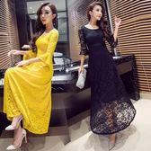 歐美時尚潮流女裝性感圓領喇叭長袖顯瘦修身連身裙女   居家物語
