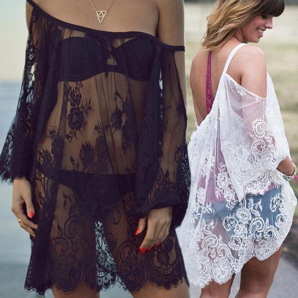 沙灘海邊度假泳衣罩衫比基尼罩衫泳衣外套女外搭防曬鏤空蕾絲 卡布其诺