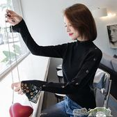 長袖高領秋裝毛衣女長袖秋裝新款韓版黑色半高領針織衫寬松冬套頭薄打底衫 都市時尚