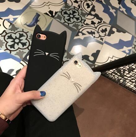 【SZ93】閃粉黑白小貓咪 oppo a59手機殼A59 矽膠套A33 全包鬍鬚貓防摔卡通情侶殼