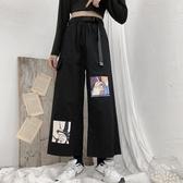 工裝褲少女薄款工裝褲女2020新款褲夏季寬鬆顯瘦黑色直筒闊腿褲休閒褲子 衣間迷你屋