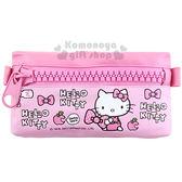 〔小禮堂〕Hello Kitty 皮質扁平拉鍊筆袋《粉坐姿蘋果蝴蝶結大拉鍊》4713791 96957