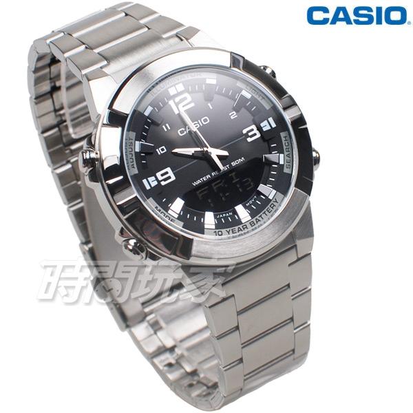 CASIO卡西歐 AMW-870D-1A 10年電力 指針數位 雙顯 防水手錶 不銹鋼 計時碼錶 AMW-870D-1AVDF