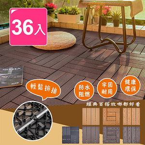 【Meric Garden】環保防水防腐拼接塑木地板36入/組(七款)L型仿實木淺棕色