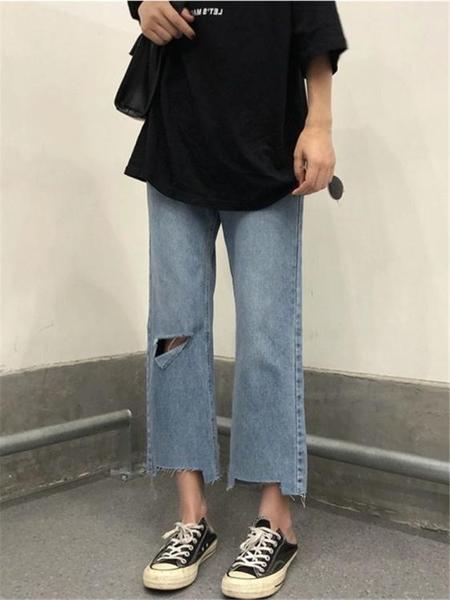 大碼破洞牛仔褲女高腰新款胖mm顯瘦梨型身材直筒寬鬆九分闊腿褲秋 韓國時尚週 免運