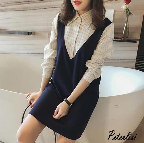 新款春裝時尚韓版條紋假兩件襯衫連衣裙 Z7182D 彼得麗絲