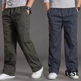 寬鬆休閒褲男士加肥加大工裝褲大尺碼男裝棉質長褲子秋季鬆緊腰胖褲