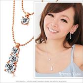 項鍊 正白K飾「氣質日系美鑽」雙鍊設計 甜美必敗 玫金款