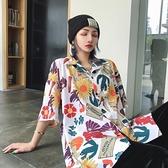 花襯衫 襯衫女復古港風短袖ins夏季韓版寬鬆百搭設計感小眾外穿chic襯衣 交換禮物