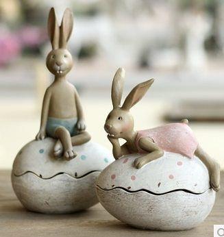 樹脂家居裝飾品創意禮品結婚禮物卡通動物擺件 超萌彩蛋兔子-niaoy305