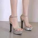 高跟鞋 14cm超高跟夜場粗跟防水台魚嘴涼鞋15cm恨天高舞台模特走秀高跟鞋 降價兩天