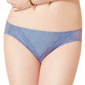 思薇爾-幾何花系列M-XL蕾絲低腰三角內褲(灰夜藍)
