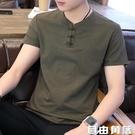 短袖t恤男士夏季韓版潮流中國風棉麻打底衫男裝v領亞麻半袖上衣服 自由角落