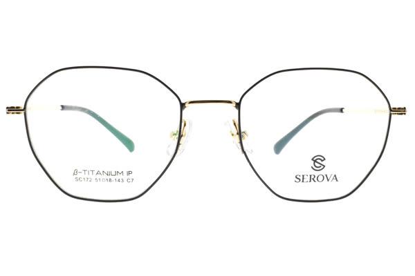 SEROVA 光學眼鏡 SC172 C7 (黑-金) 純鈦眼鏡框 #金橘眼鏡