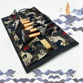和風鯉魚布料13孔大容量化妝刷收納包便捷美妝 歐亞時尚