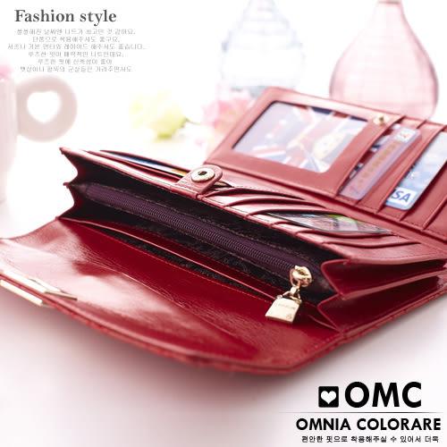 OMC - 優雅針織繡花牛皮長夾 - 時尚經典黑