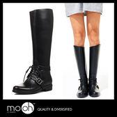雨鞋雨鞋 長筒雨鞋 顯瘦 歐美時尚斜口系帶素面高筒雨靴 mo.oh (歐美鞋款)