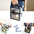 韓國 invite.L 正品空運!! S號 透明網狀袋中袋 手提包 包包收納 手機/化妝用品/錢包/物品收納 包中包