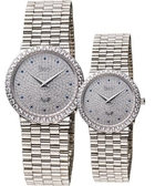 Ogival 愛其華 滿天星晶鑽經典對錶/情侶手錶-銀 377MW+377LW