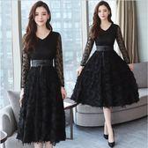 2018秋裝新款女裝韓版中長款網紗有女人味的黑色蕾絲洋裝打底裙 ZJ3768【潘小丫女鞋】