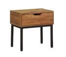 【森可家居】亞瑟柚木集層床頭櫃 7JF023-2 木紋質感 北歐工業風