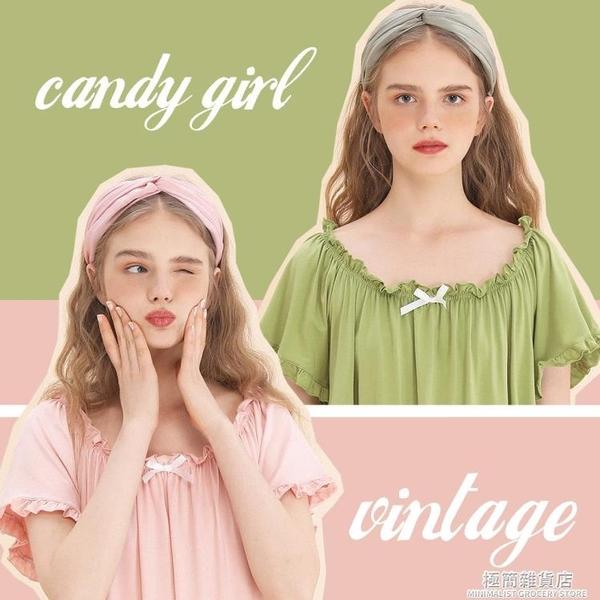 奧代爾可愛復古少女白色綠色粉色橙色大領口居家睡衣睡裙 極簡雜貨