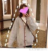 韓版V領學院風很仙的針織開衫女寬鬆短款毛衣外套潮