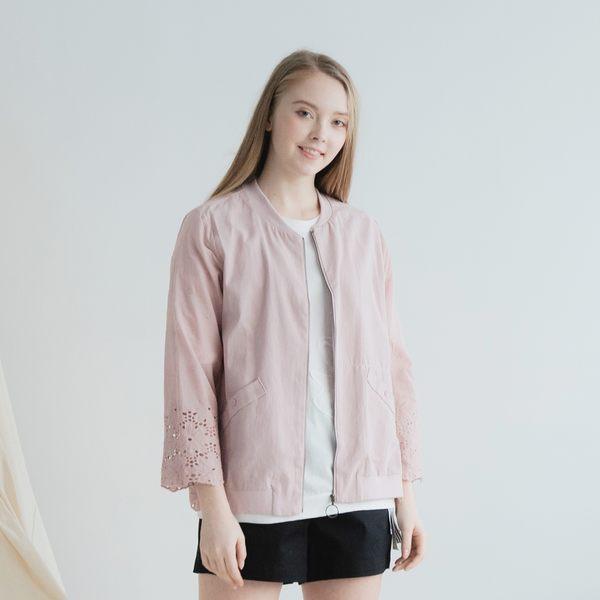 【衣大樂事】剪接蕾絲拉鍊外套