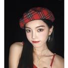 韓國ins網紅紅色格紋貝雷帽女日系百搭南瓜帽英倫復古格子畫家帽 交換禮物