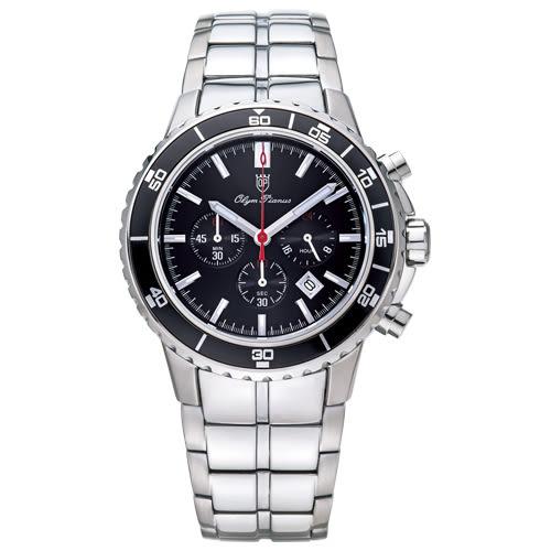 Olym Pianus奧柏表 潛水風格多功能計時三眼腕錶-黑/43.5mm