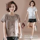 短袖棉麻 2021夏季新款短袖T恤女寬鬆顯瘦中年大碼上衣休閒純棉小衫 17【快速出貨】